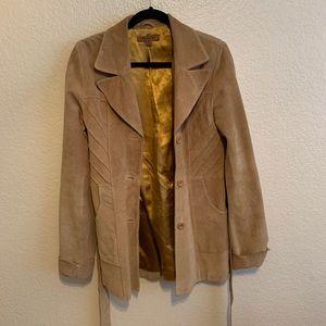 leather jacket beige